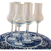 Six Nachtmann Crystal Grappa Stemware Glasses Crown Etch Trademark N