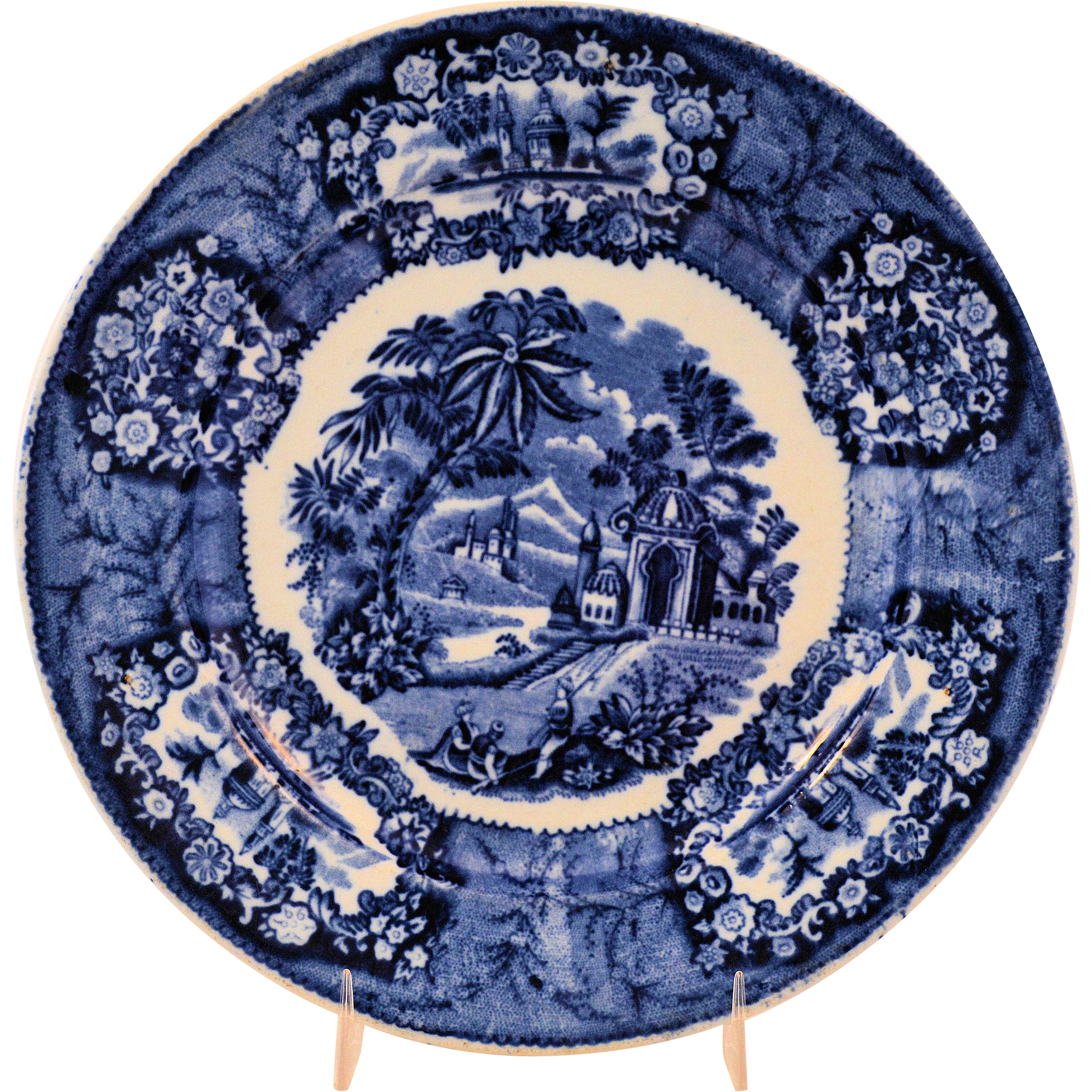 Staffordshire Flow Blue Transferware Plate Oriental Pattern by Thomas Fell Antique circa 1817-30