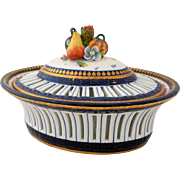 Antique French Porcelain Centerpiece Sevres Style Reticulated Potpourri Dish Fruit Butterfly Roses Flowers Bugs Cobalt Blue