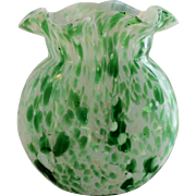 Vintage Spatter Art Glass Vase Hand Blown Green White Cased