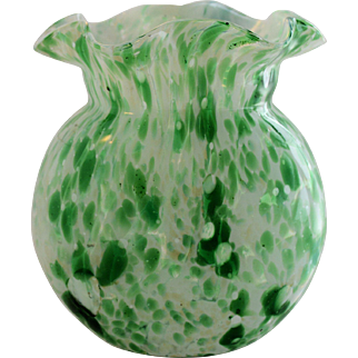 Vintage Spatter Art Glass Vase Hand Blown Green White Cased