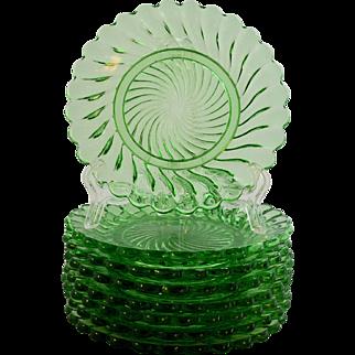 Eight Baccarat Depose Swirl Pattern Plates Green Crystal circa 1870-1930