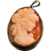 Antique Shell Cameo Pendant Sterling Silver Marked 925 Vintage 19th Century Hand Carved