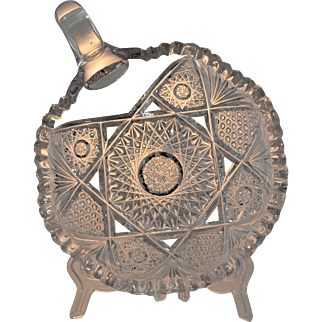 Antique American Brilliant Period Cut Glass Nappy Miter Cut ABP 19th Century