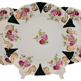 Carlsbad Austrian Porcelain China Plates Roses Gold Filigree Hand Painted Accents