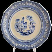 Antique Staffordshire Transferware Plate Light Blue Romantic Water Scene