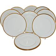 Antique Limoges Theodore Haviland Dinner Plates Gold Band Black Outline Set of 10 France Dinnerware