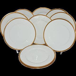 Antique Theodore Haviland Limoges France Dinner Plates Gold Band Black Outline Set of 10
