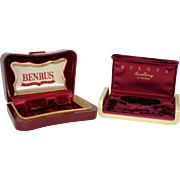 Two Art Deco Watch Boxes Benrus and Bulova Celluloid Burgundy Red Velvet Vintage