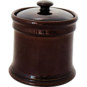 Vintage Tobacco Humidor Jar Brown Glaze Art Pottery Classic Mid Century Design 1950-60s Fathers Day Gift for Men