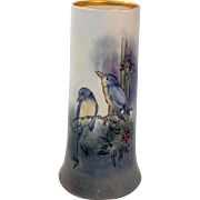 Antique Limoges Vase Bernardaud and Company Porcelain Tall Blue Birds Artist Signed Gardner