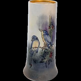 Antique Limoges Vase Bernardaud and Company Porcelain Tall Blue Birds Artist Signed Gardner