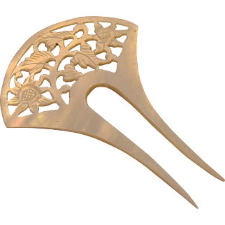 Antique Hair Comb Mother of Pearl Art Nouveau Hand Carved