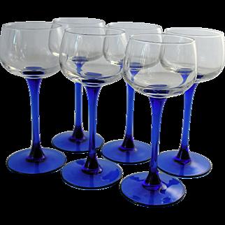 Luminarc Crystal Wine Glasses Cobalt Blue Sapphire Stems Made in France  J.G. Durand Set of Six
