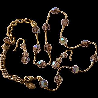 Vintage Necklace Dangle Earrings by Carolee Crystal Beads Aurora Borealis Demi Parure
