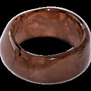 Vintage Lucite Bangle Bracelet Chunky Brown Marbled Swirls