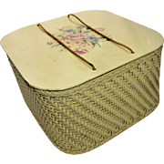 Vintage Sewing Basket by Harvey Floral Decal Yellow Painted Enamel Mid Century 1940s