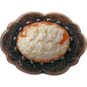 Victorian Cameo Brooch Pin Four Seasons Maidens Hand Carved Sardonic Shell Antique
