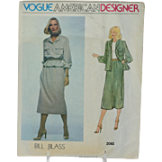Vintage Vogue Sewing Pattern Bill Blass American Designer Original 2083 Size 14 Misses Jacket Skirt