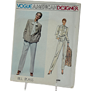 Vintage Vogue Sewing Pattern Bill Blass American Designer Original 2298 Size 14 Misses Jacket Pants Blouse
