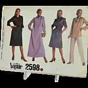 Vogue Sewing Pattern Very Easy 2598 Size 14 Misses Dress Belt Top Vogue Pattern Service Vintage