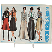 Vogue Sewing Pattern Basic Design 2634 Size 14 Misses Skirt Shirt Tie Vintage