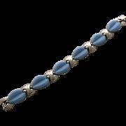 Vintage Marboux Bracelet Pale Blue Marcel Boucher Thermoplastic Silver Tone circa 1950s