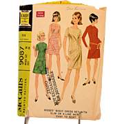 Vintage McCalls Sewing Pattern 9087 Misses Slim A-Line Dress Size 16 Copyright 1967