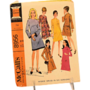 Vintage McCalls Sewing Pattern 8956 Misses Dress French Darts Bell Sleeves Size 16 Copyright 1967