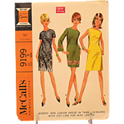 Vintage McCalls Sewing Pattern 9199 Dress French Darts Size 11 Copyright 1968