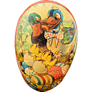 Vintage Germany Easter Egg Paper Mache Candy Container Mid Century 1950s Signed