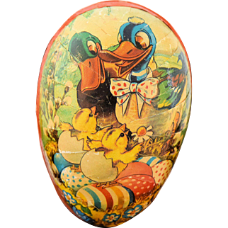 Vintage Western Germany Easter Egg Paper Mache Candy Container Mid Century 1950s