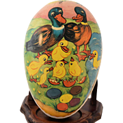 Vintage German Easter Egg Paper Mache Candy Container Signed GDR Mid Century 1950s Large Size