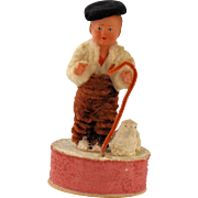 Antique German Doll Candy Box Container Vintage Chenille Shepherd Lamb