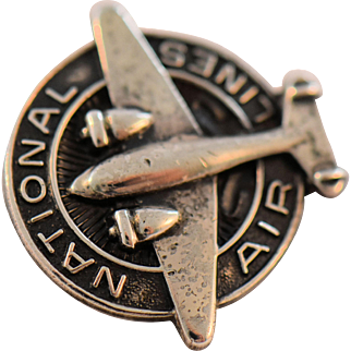 Vintage National Air Lines Employee Pin Sterling Silver Prop Airplane circa 1940s