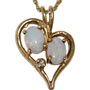 Vintage 14k Gold Opal Heart Pendant Diamond Accent Two Oval Cabochon Opals