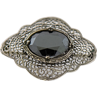 Victorian Mourning Brooch Sterling Silver Marcasite Antique Jewelry Pin