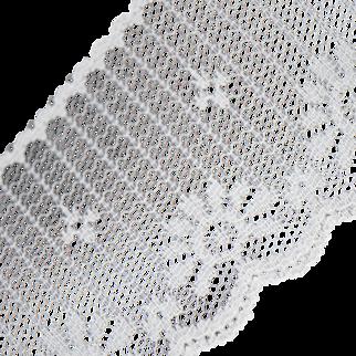 Vintage 1970s Off White Net Flower Lace Edging Trim Scalloped Edge Floral Netting Design