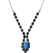 Vintage Blue Moonstone Rhinestones Drop Necklace Silver Plated Goldfill 16 inches