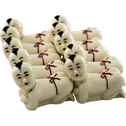 Vintage Asian Chopstick Knife Rests Japanese Sumo Wrestler Figurines Hand Painted Porcelain circa 1960
