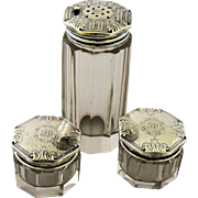 Antique Art Deco Sterling Silver Vanity Set Polished Paneled Crystal Talcum Shaker Cream Jars