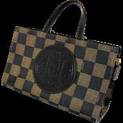 Vintage Fendi Handbag Purse Dark Brown Checkered Coated Canvas Embossed Leather Medallion