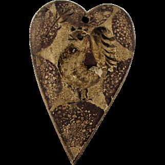 Vintage Primitive Folk Art Treenware Hand Carved Wooden Heart Butter Mold Treen Wood Rooster Chicken Spatterware