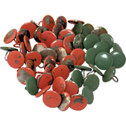 Set of 53 Antique Steel Metal Mattress Buttons Cold Painted Red Green Long Loop Shank Back