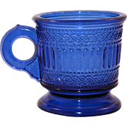 Vintage Early American Press Glass Blue Children's Mug EAPG