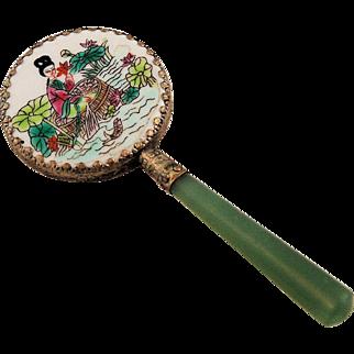 Vintage Chinese Hand Mirror Enameled Jade Handle Painted Porcelain of Lovely Lady on Water Pond Fish Lotus Flowers Vanity
