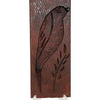 Vintage Folk Art Treenware Primitive Hand Carved Wooden Bird Butter Mold