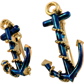 Two Vintage Nautical Anchor Scatter Pins Signed Gerrys Sailor Theme