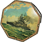 Vintage Advertising Biscuit Tin USS Idaho WW II Naval Fleet Battle Ship by Loose Wiles Biscuit Company