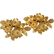 Vintage MUSI Shoe Clips Gold Tone Flowers Leaf Foliage Fashion Retro 1970s